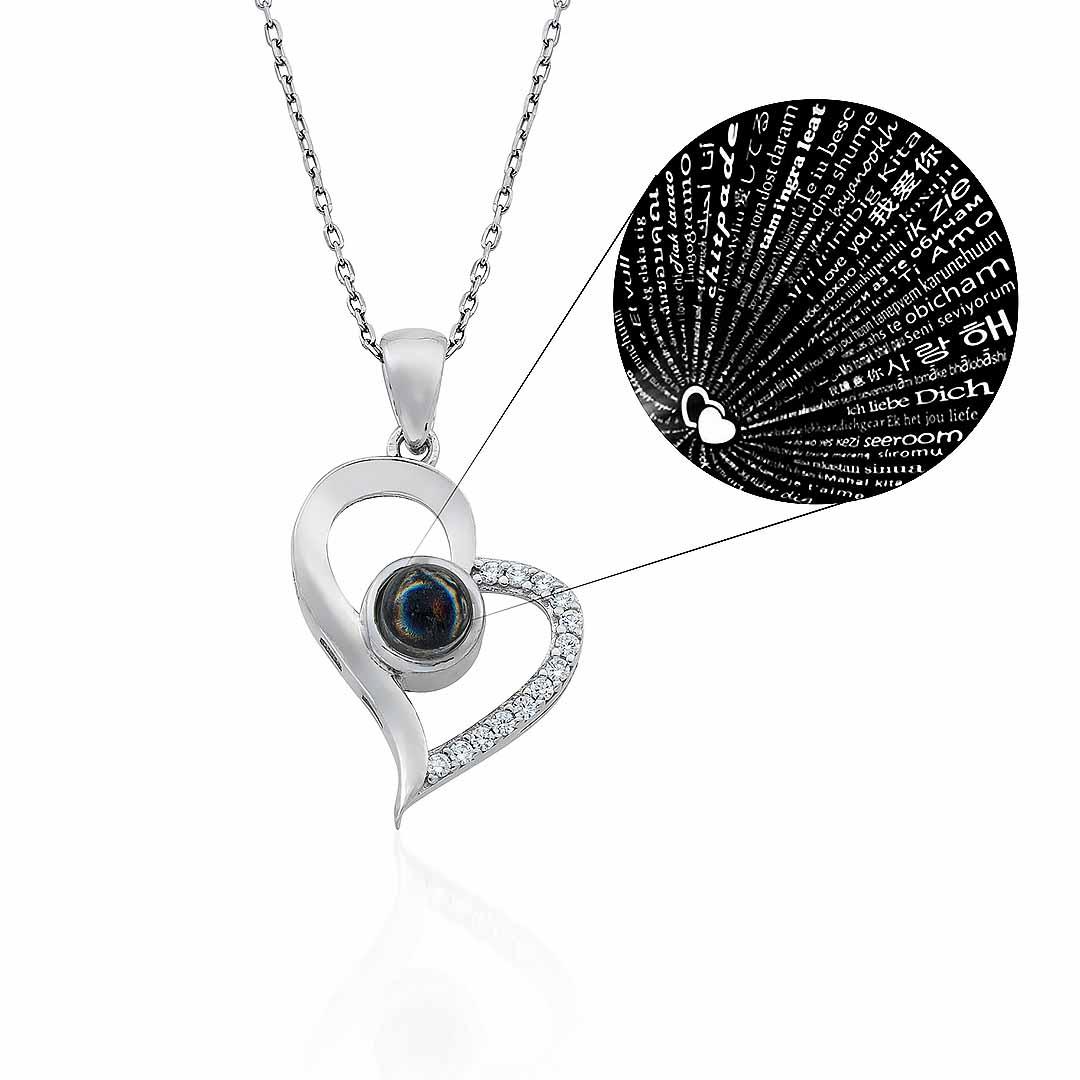Gümüş Pazarım - 100 Dilde Seni Seviyorum Yazılı Gümüş Kolye