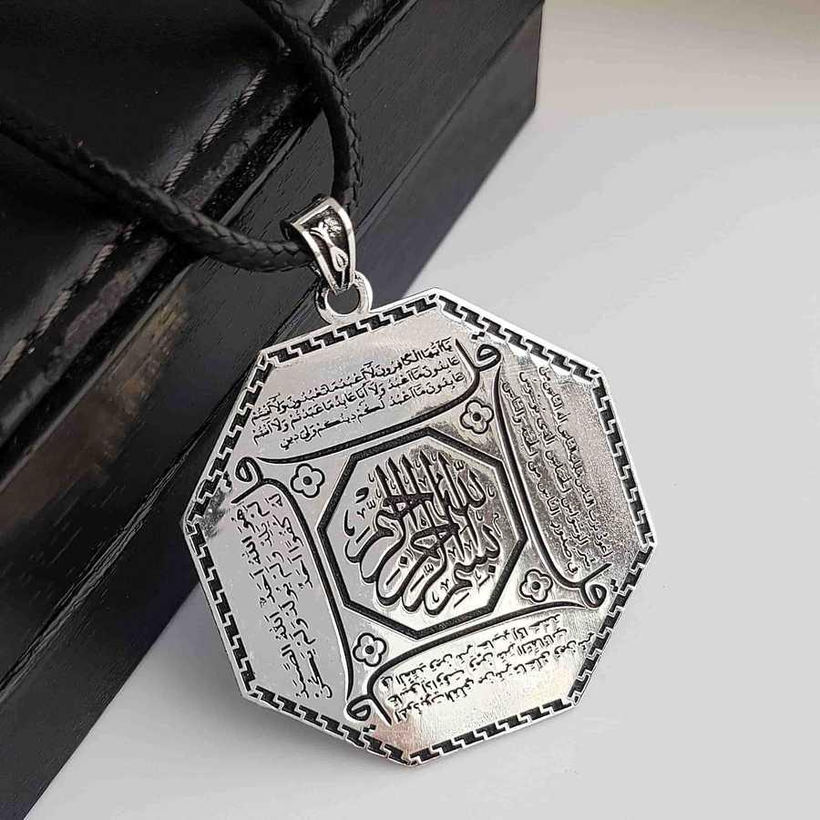Gümüş Pazarım - 4 Kul Duası Gümüş Kolye ( Kafirun, İhlas, Felak ve Nas )
