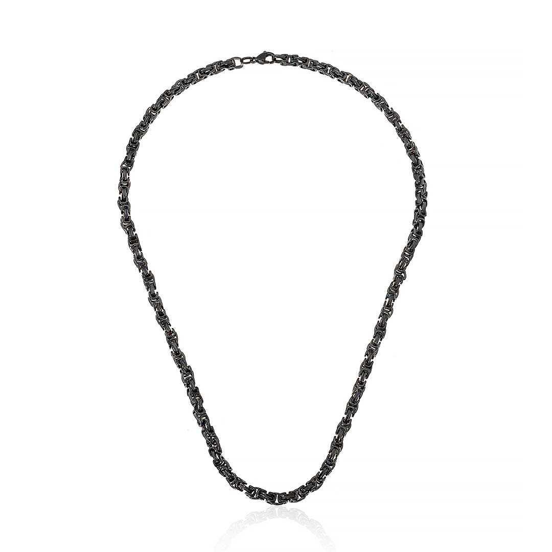 Gümüş Pazarım - 5 mm Çelik Kral Zincir Siyah