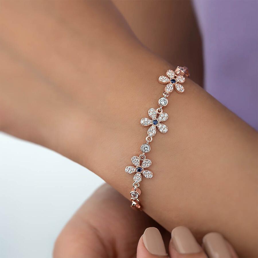 5 Yapraklı Yonca Motifli Gümüş Bileklik - Thumbnail