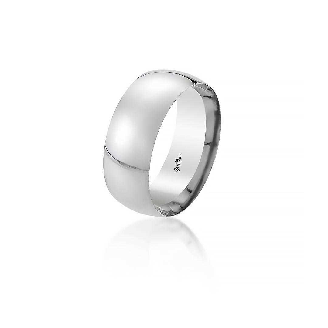 Gümüş Pazarım - 8 mm Bombeli Kadın Gümüş Alyans