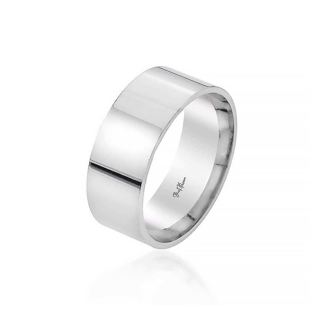 Gümüş Pazarım - 8 mm Klasik Erkek Gümüş Alyans