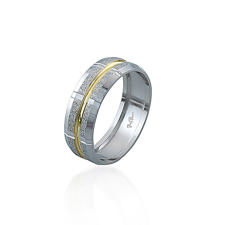 Gümüş Pazarım - Altın Kaplama 6mm Çizgili Kadın Gümüş Alyans