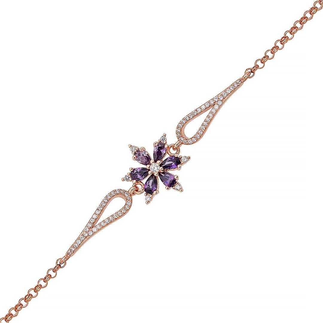 Gümüş Pazarım - Ametist Taşlı Aster Çiçeği Gümüş Bileklik