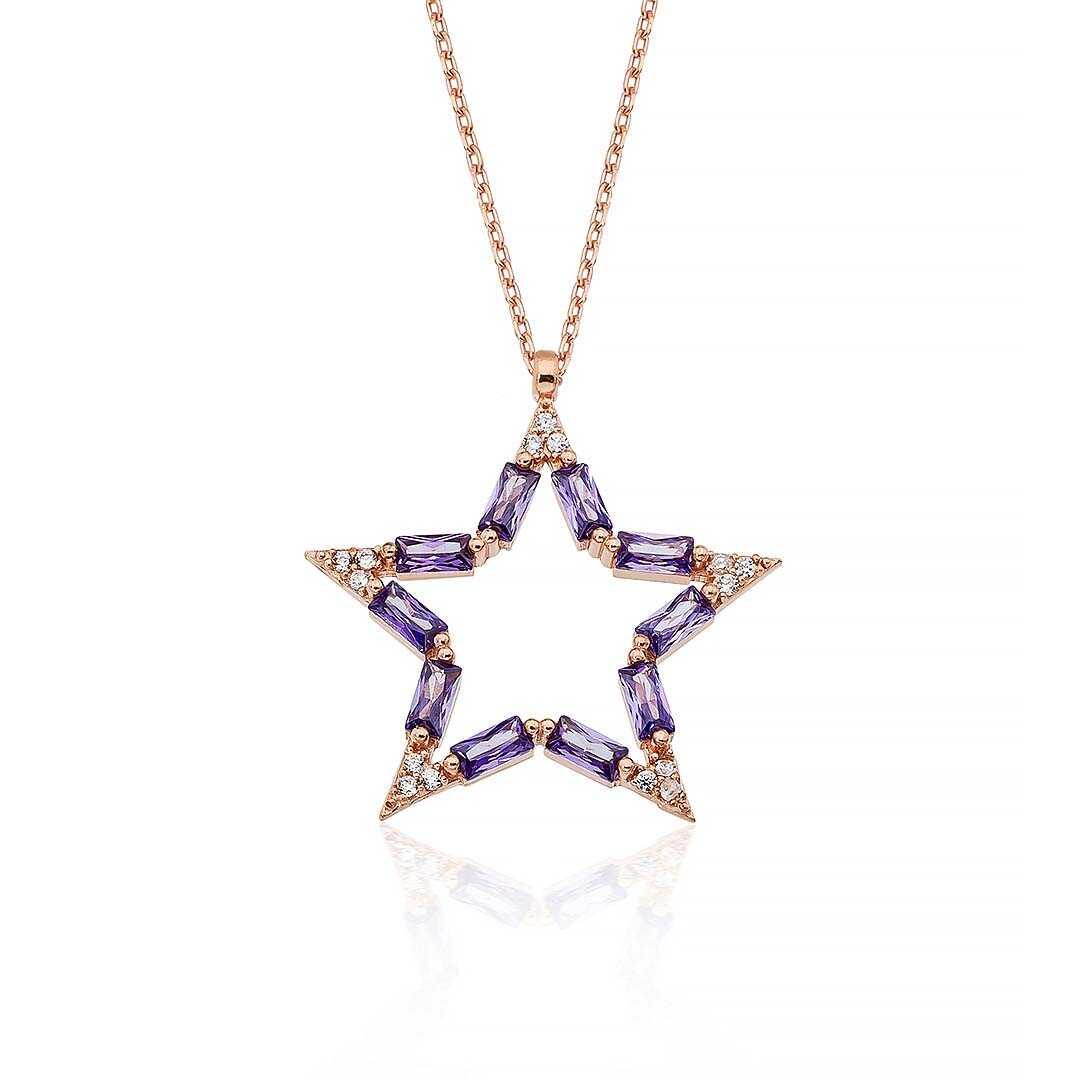 Gümüş Pazarım - Ametist Taşlı Yıldız Figürlü Kadın Gümüş Kolye