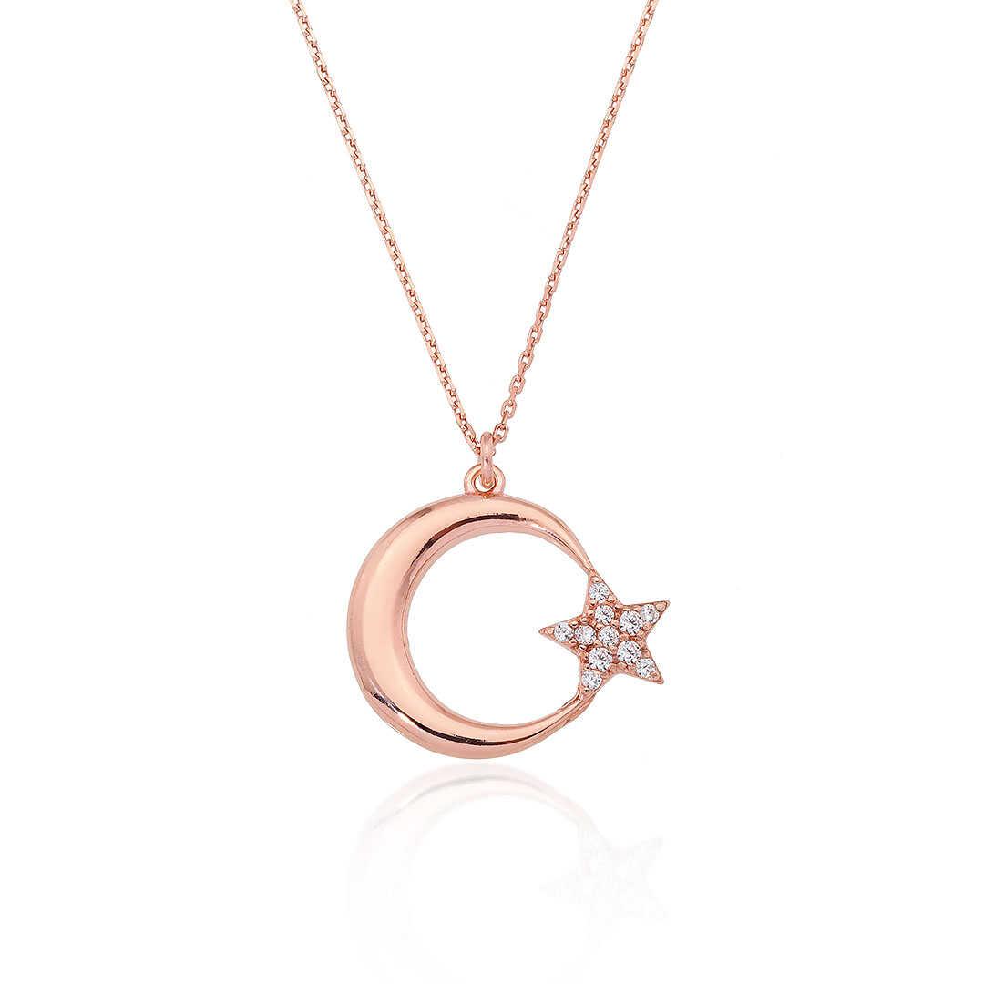 Gümüş Pazarım - Ay Yıldız Motifli Rose Renk Gümüş Kolye