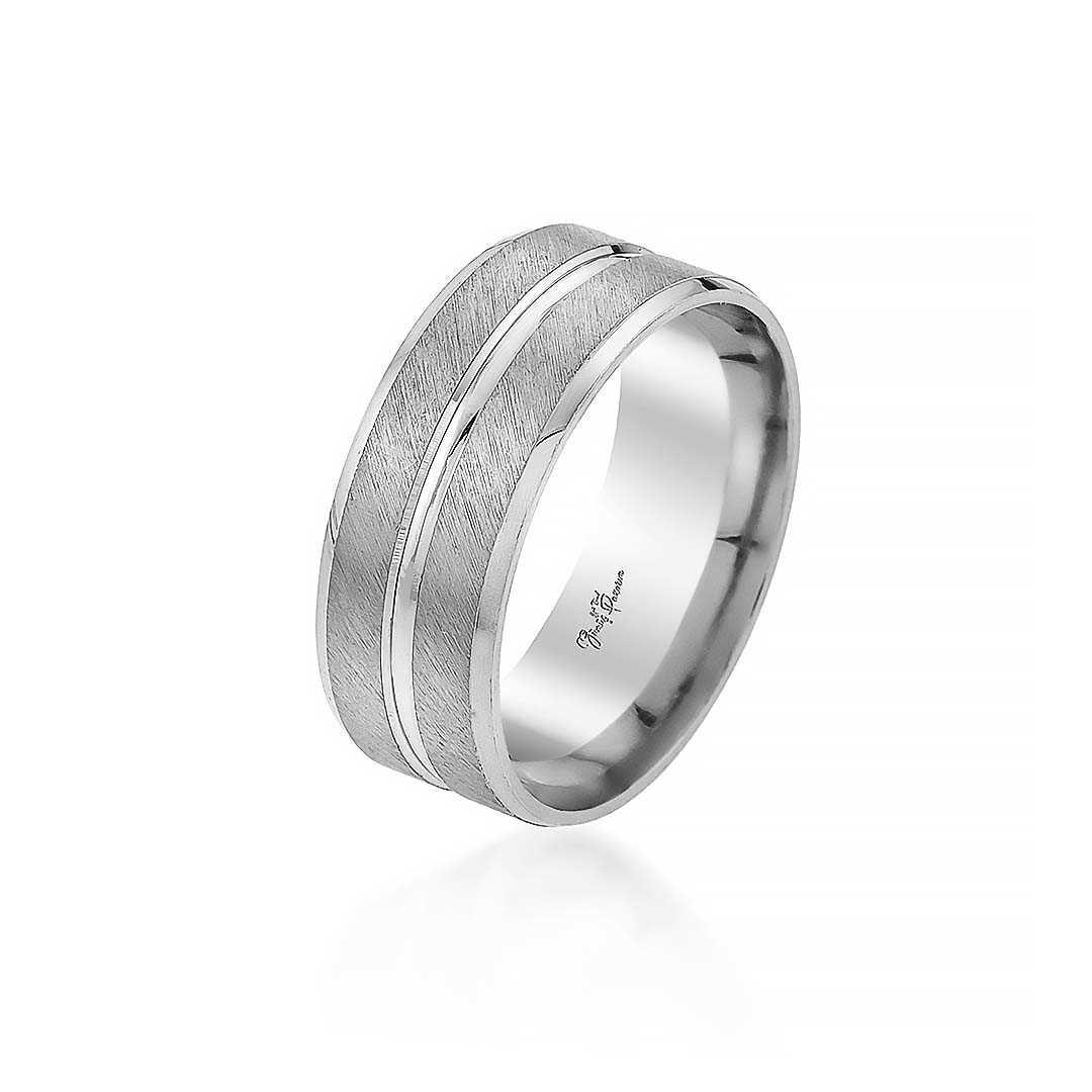 Gümüş Pazarım - Çift Sıra Şeritli Erkek Gümüş Alyans