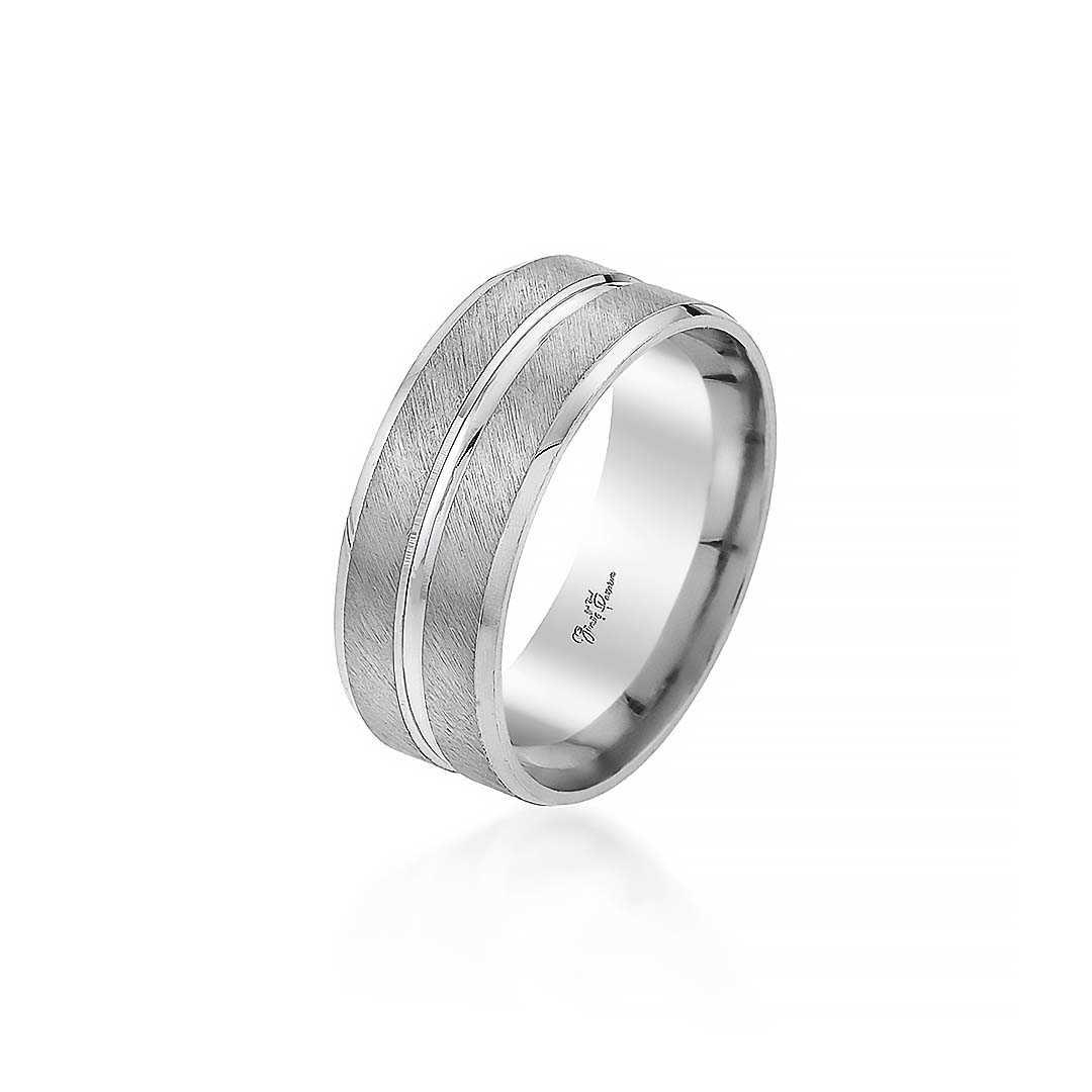 Gümüş Pazarım - Çift Sıra Şeritli Kadın Gümüş Alyans