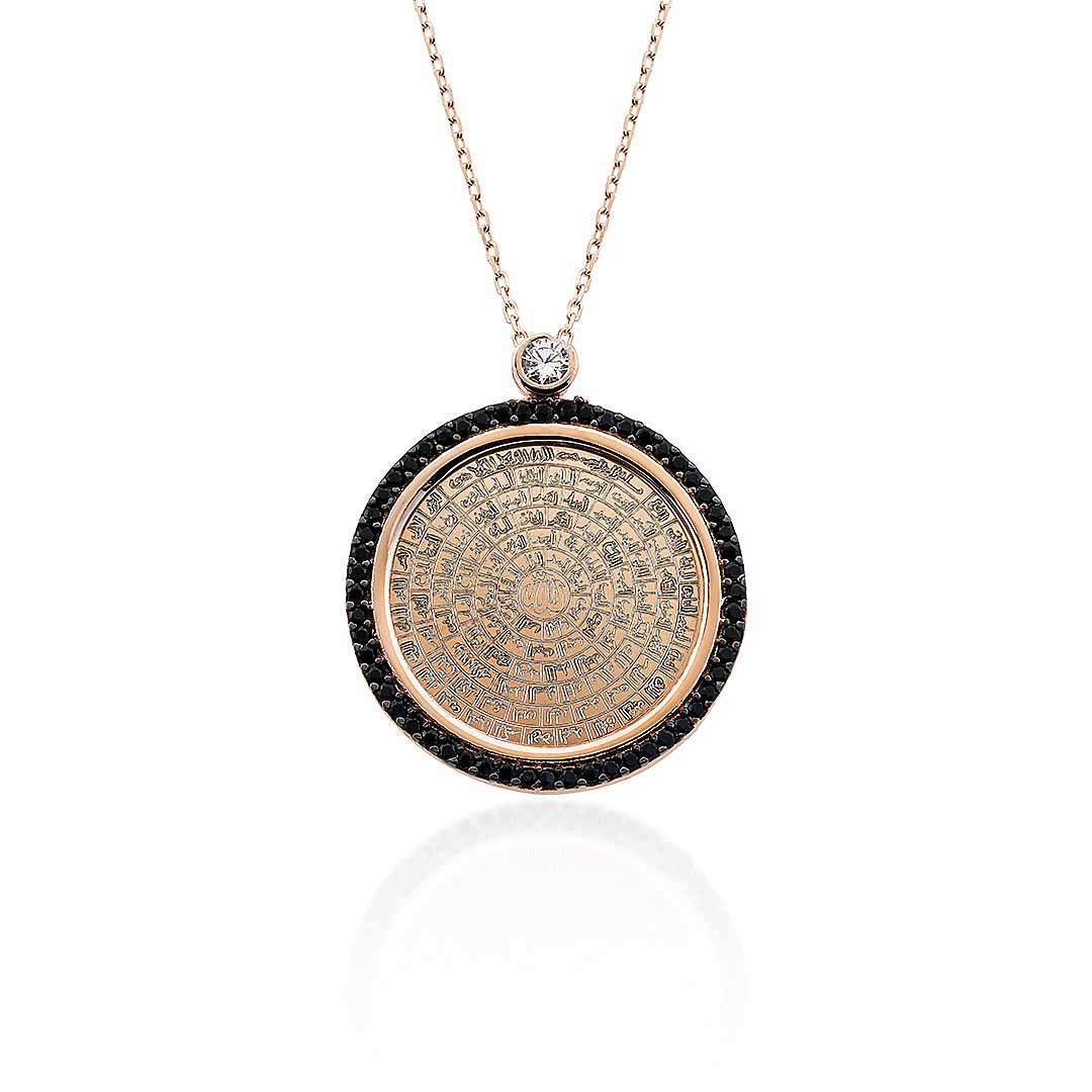 Gümüş Pazarım - Esma- Ül Hüsna ( Allah'ın 99 Adı ) Yazılı Oniks Taşlı Gümüş Kolye