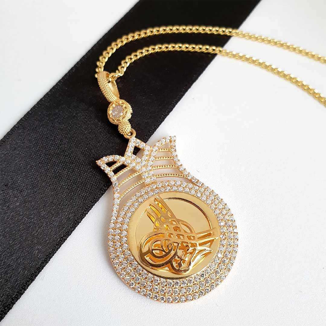 Gümüş Pazarım - Lale Motifli Osmanlı Tuğralı Gümüş Kolye