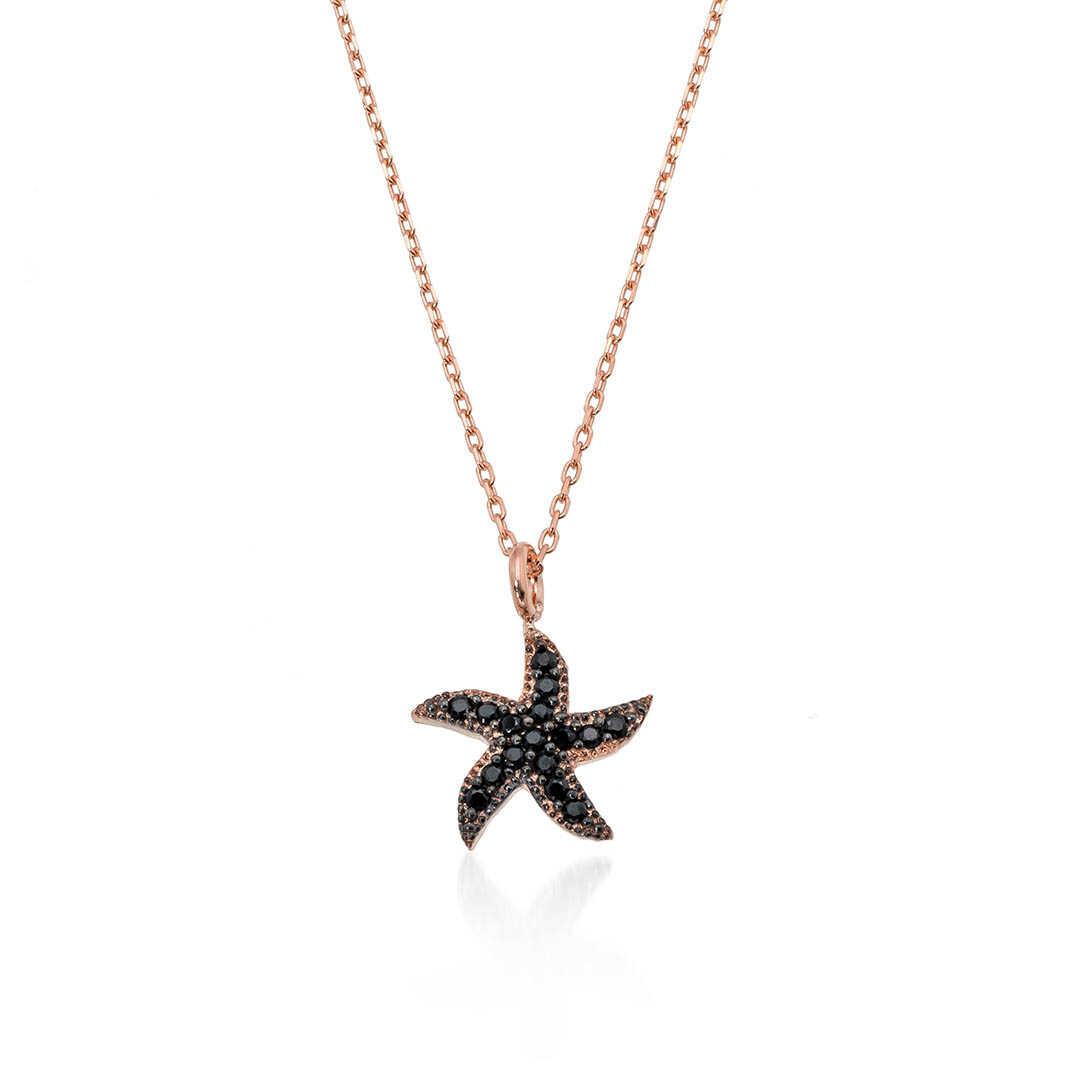 Gümüş Pazarım - Oniks Taşlı Deniz Yıldızı Gümüş Kolye
