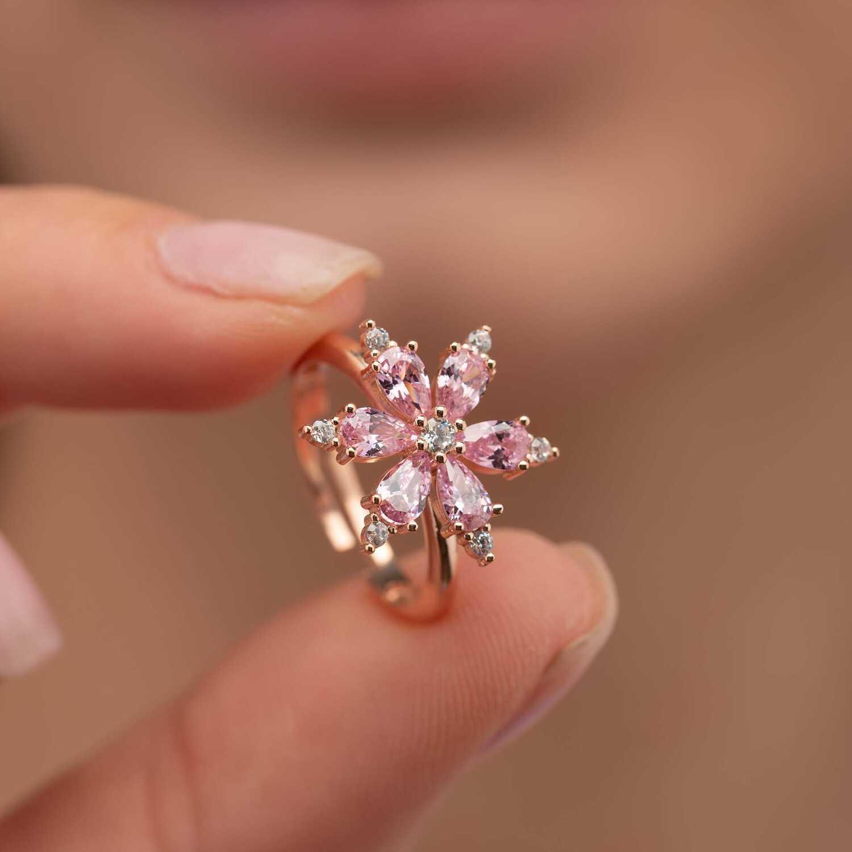 Gümüş Pazarım - Pembe Taşlı Aster Çiçeği Gümüş Yüzük