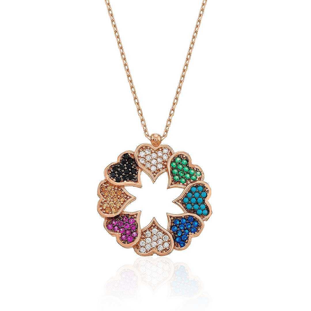 Gümüş Pazarım - Renkli Kalpler Gümüş Kolye