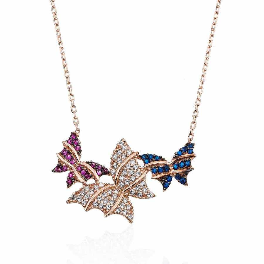 Gümüş Pazarım - Renkli Kelebekler Gümüş Kolye