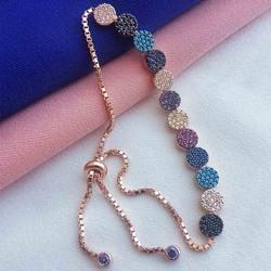 Renkli Taşlı Asansörlü Tamtur Gümüş Bileklik - Thumbnail