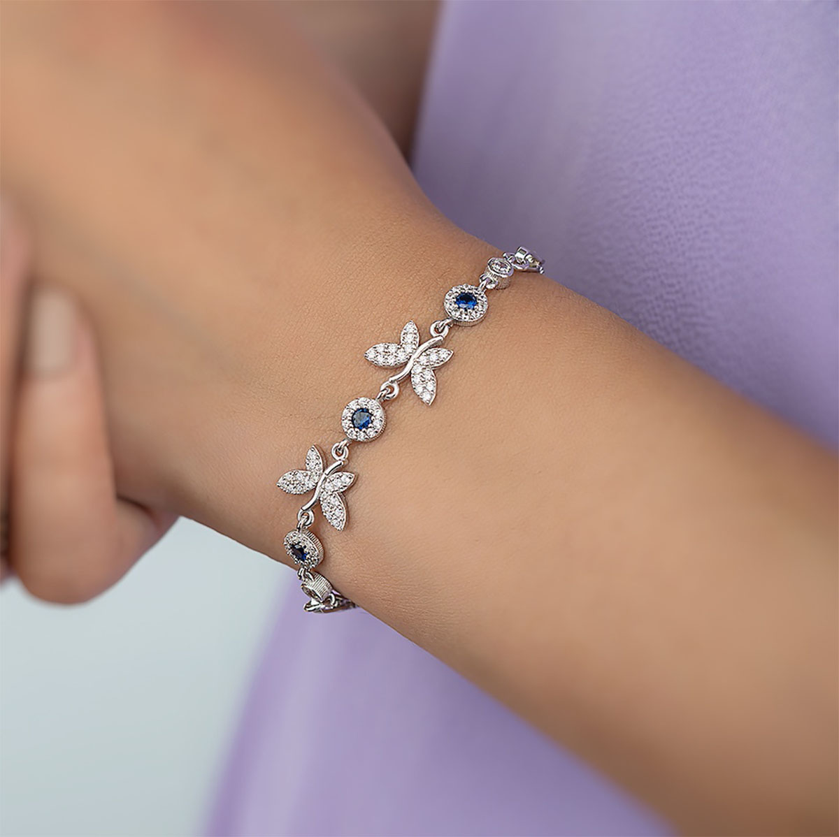 Gümüş Pazarım - Safir Taşlı Kelebek Motifli Gümüş Bileklik (1)