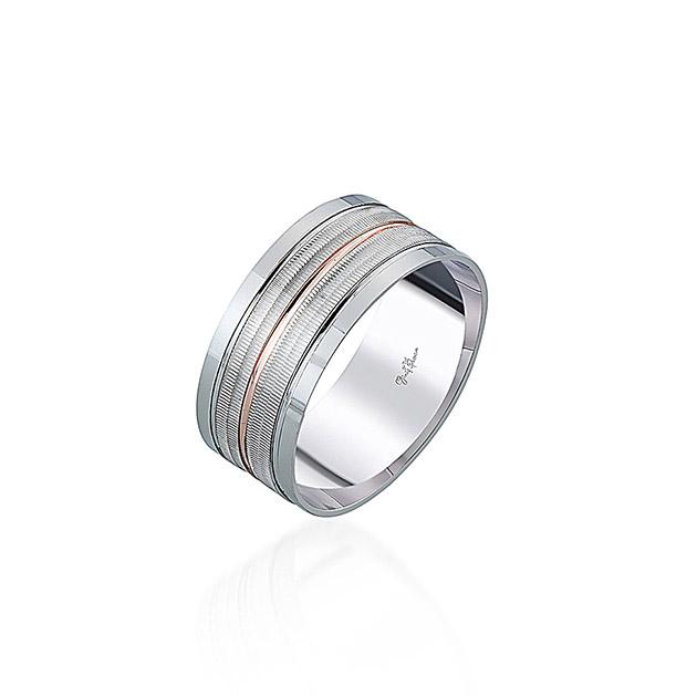 Gümüş Pazarım - Şeritli Çift Renk Erkek Gümüş Alyans