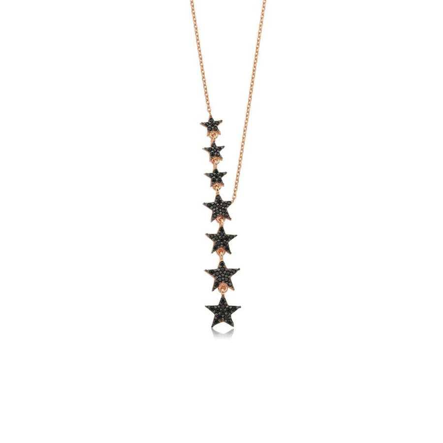 Gümüş Pazarım - Sıralı Yıldız Motifli Gümüş Kolye