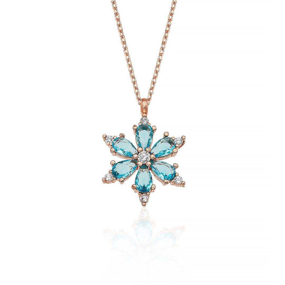 Gümüş Pazarım - Turkuaz Renkli Aster Çiçeği Gümüş Kolye