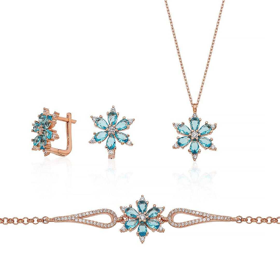 Gümüş Pazarım - Turkuaz Renkli Aster Çiçeği Gümüş Set