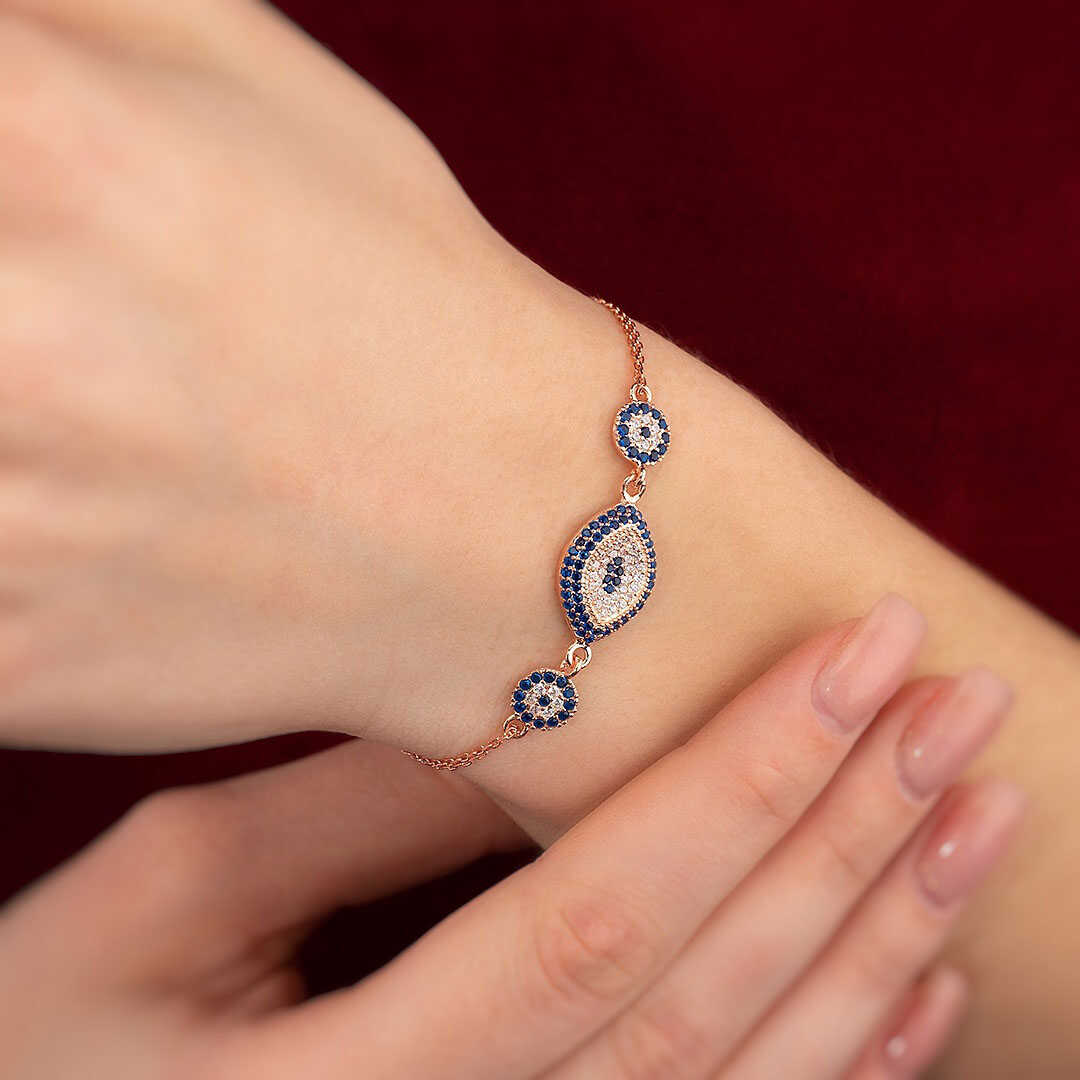 Gümüş Pazarım - Üçlü Nazar Boncuğu Gümüş Bileklik