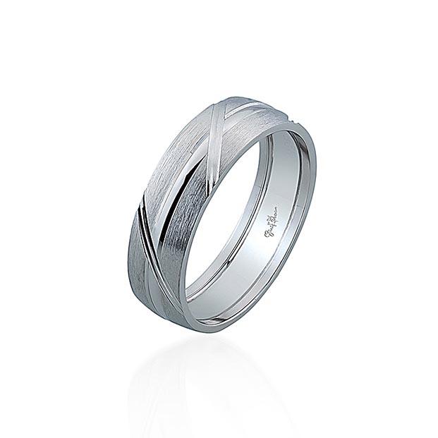 Gümüş Pazarım - Yan Çizgili Erkek Gümüş Alyans