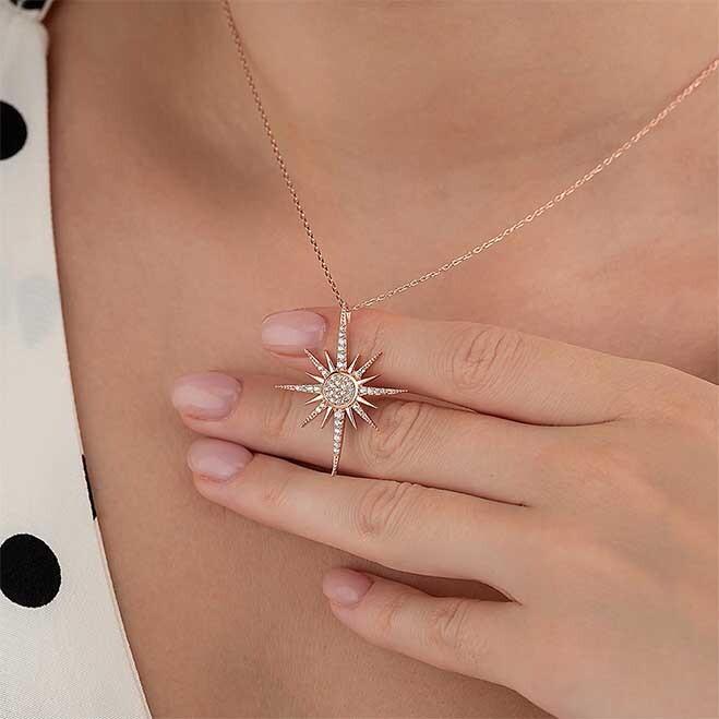 Zirkon Taşlı Kutup Yıldızı Motifli Gümüş Kolye - Thumbnail