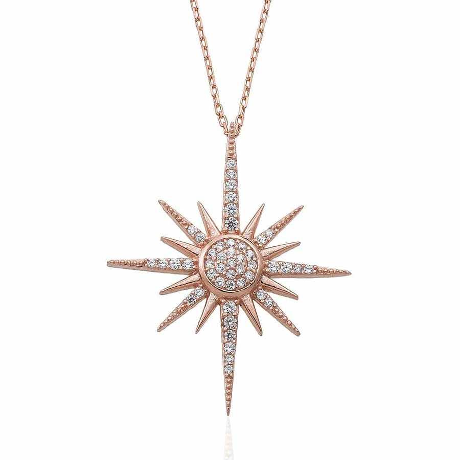 Gümüş Pazarım - Zirkon Taşlı Kutup Yıldızı Motifli Gümüş Kolye