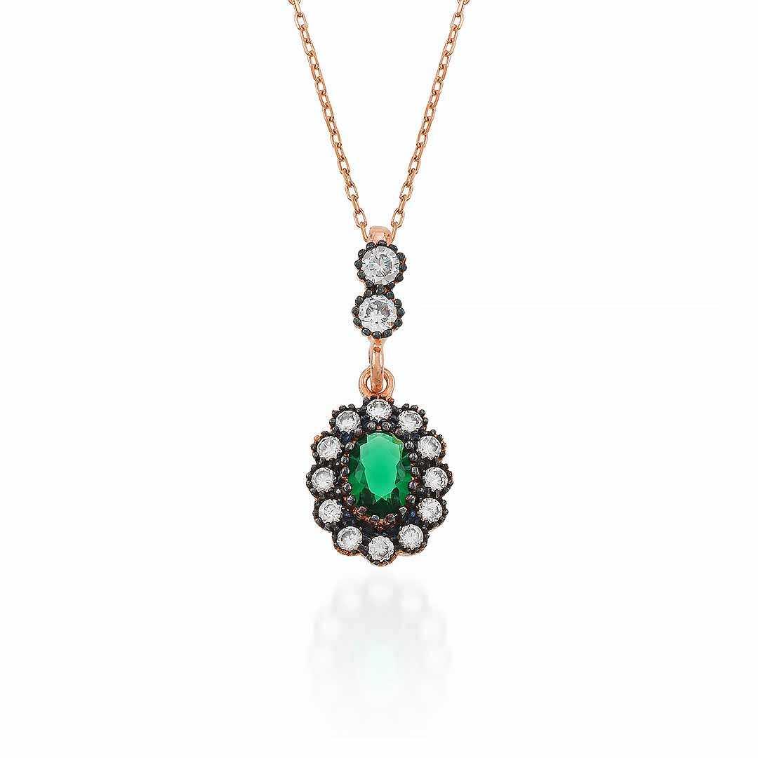Gümüş Pazarım - Zümrüt Renkli Elmas Montür Kolye Küpe Gümüş Kolye
